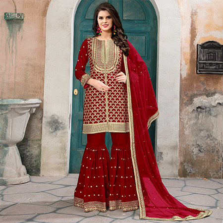 Mesmerising Red Colored Partywear Embroidered Art silk Palazzo Suit