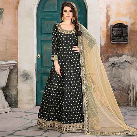 Demanding Black Partywear Embroidered Tapeta silk Anarkali Suit