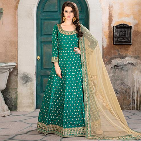 Trendy Turquoise Green Partywear Embroidered Tapeta silk Anarkali Suit