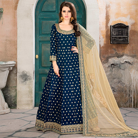 Glowing Rama  Partywear Embroidered Tapeta silk Anarkali Suit