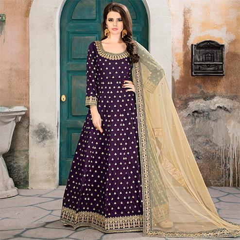 Attractive Purple Partywear Embroidered Tapeta silk Anarkali Suit