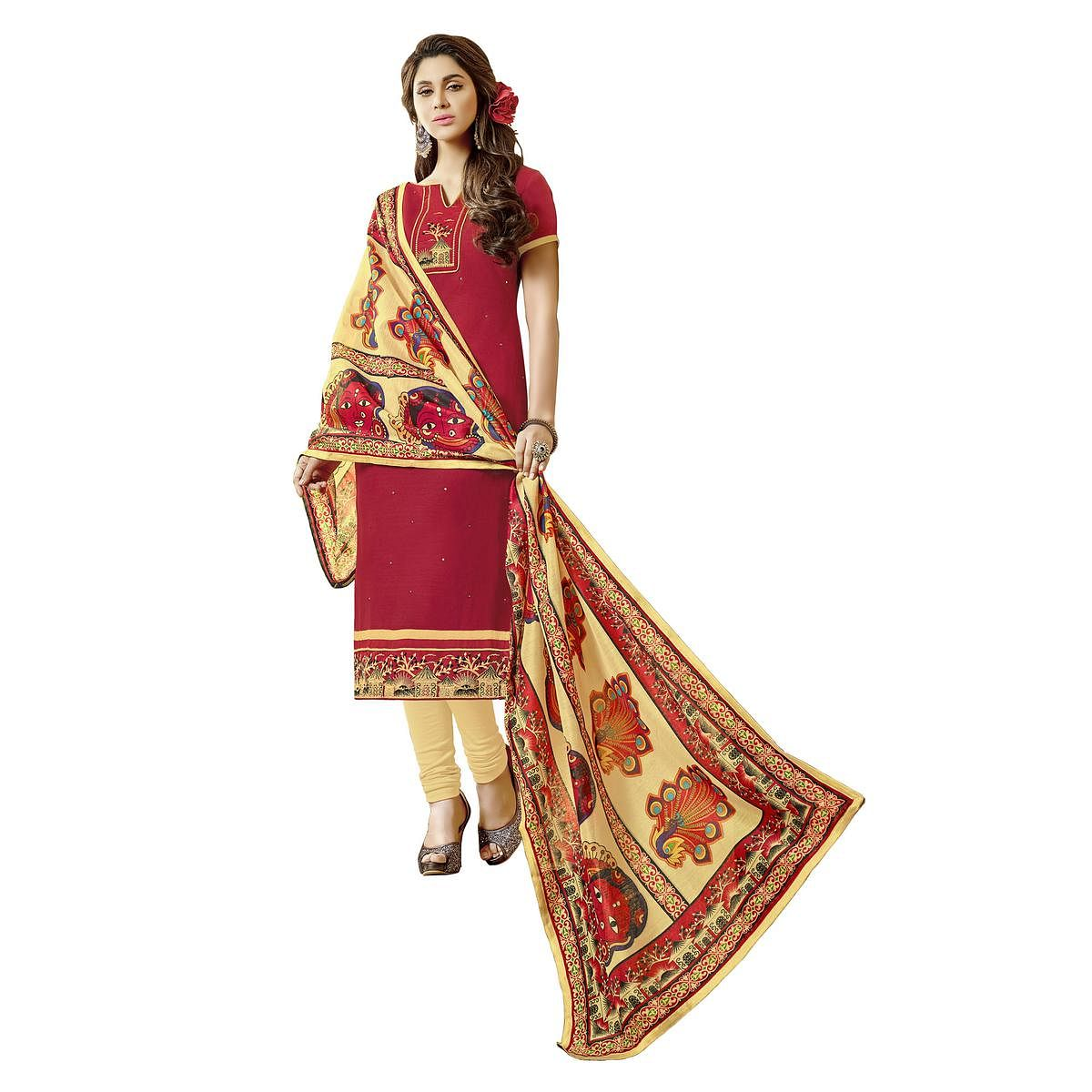 Stylish Maroon Colored Fancy Embroidered Cotton Dress Material
