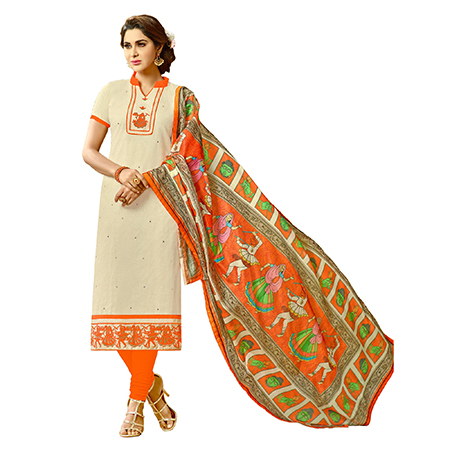 Pleasant Off-White Colored Fancy Embroidered Cotton Dress Material