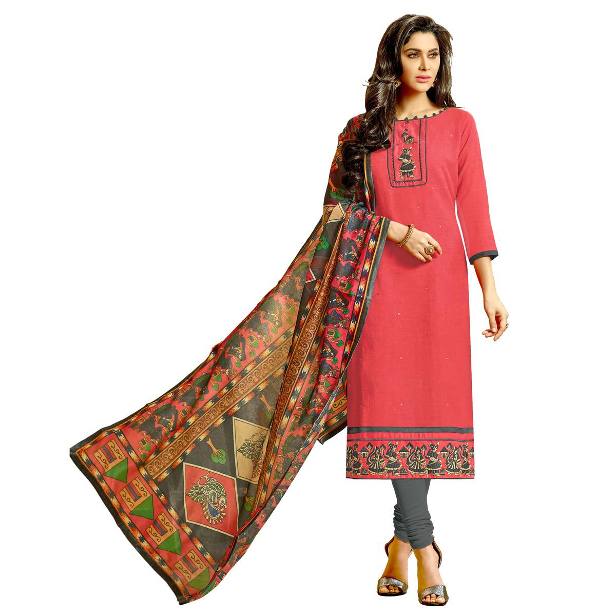 Pretty Peach Colored Fancy Embroidered Cotton Dress Material