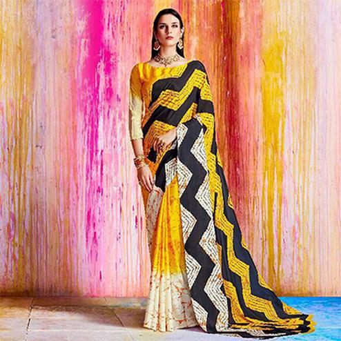 Sizzling Yellow And White Crepe Silk Designer Saree