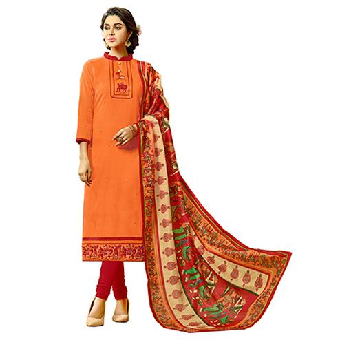 Traditional Orange Colored Fancy Embroidered Cotton Dress Material