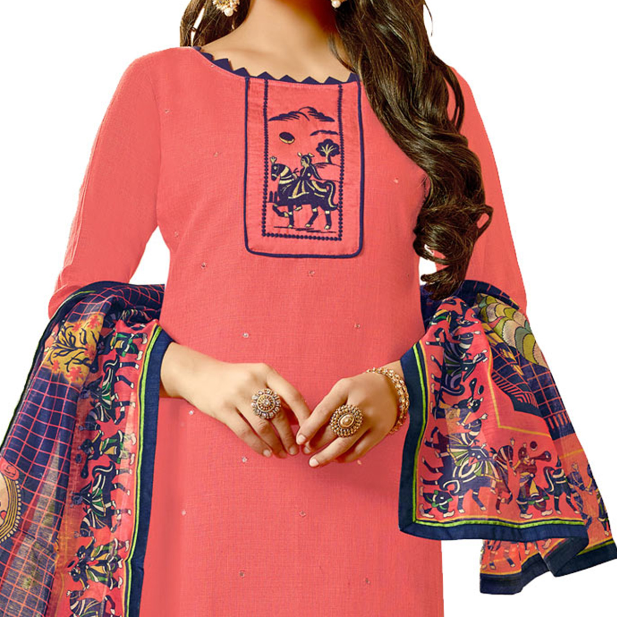 Refreshing Peach Colored Fancy Embroidered Cotton Dress Material