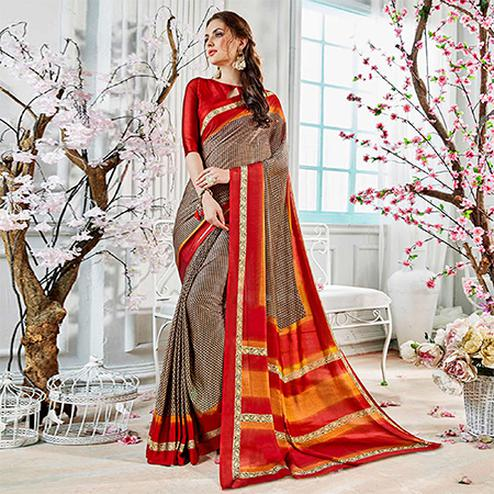 Brown Colored Casual Wear Printed Georgette Saree