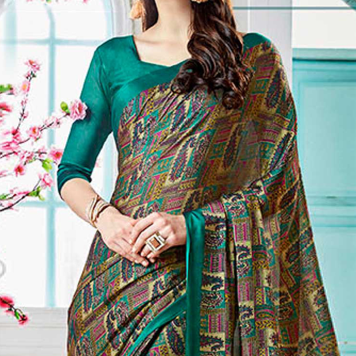 Teal Green Colored Casual Wear Printed Georgette Saree