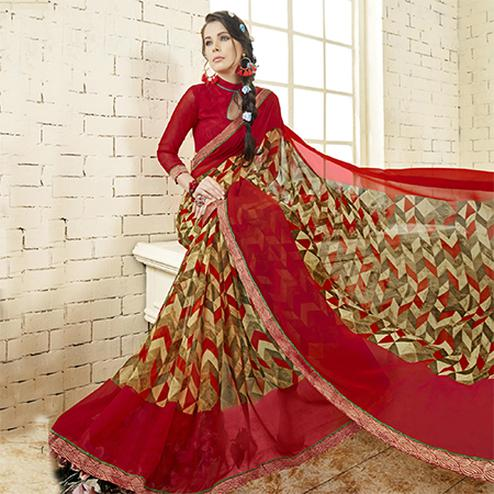 Beige - Red Colored Casual Wear Printed Georgette Saree