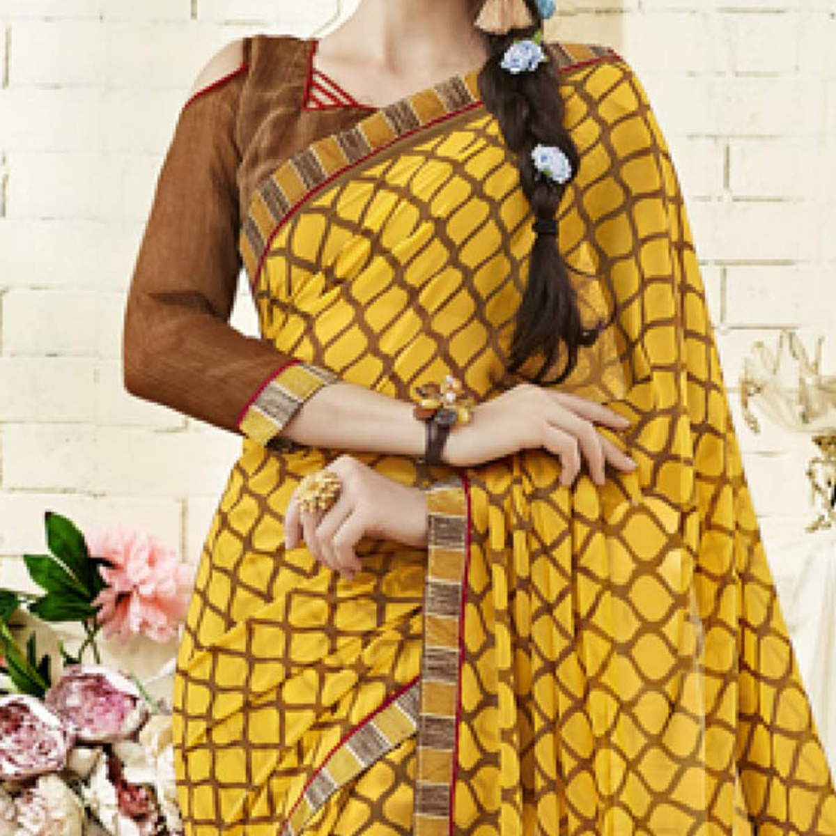 Mustard Yellow Colored Casual Wear Printed Georgette Saree
