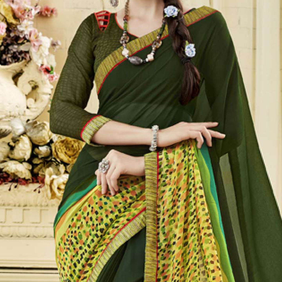 Olive Green Colored Casual Wear Printed Georgette Saree
