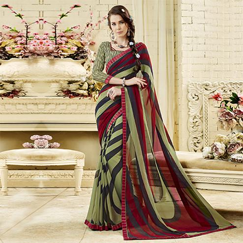 Olive Green - Maroon Colored Casual Wear Printed Georgette Saree