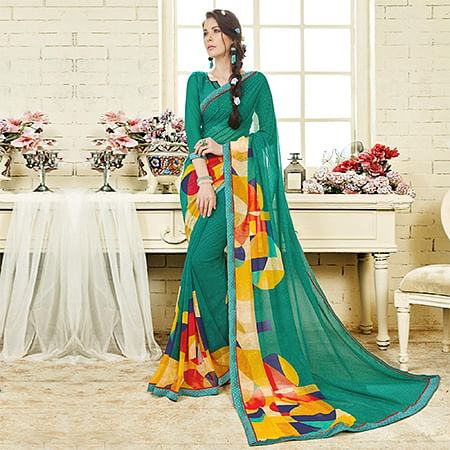 Rama Green Colored Casual Wear Printed Georgette Saree