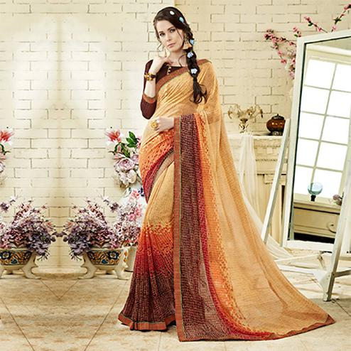 Beige - Brown Colored Casual Wear Printed Georgette Saree