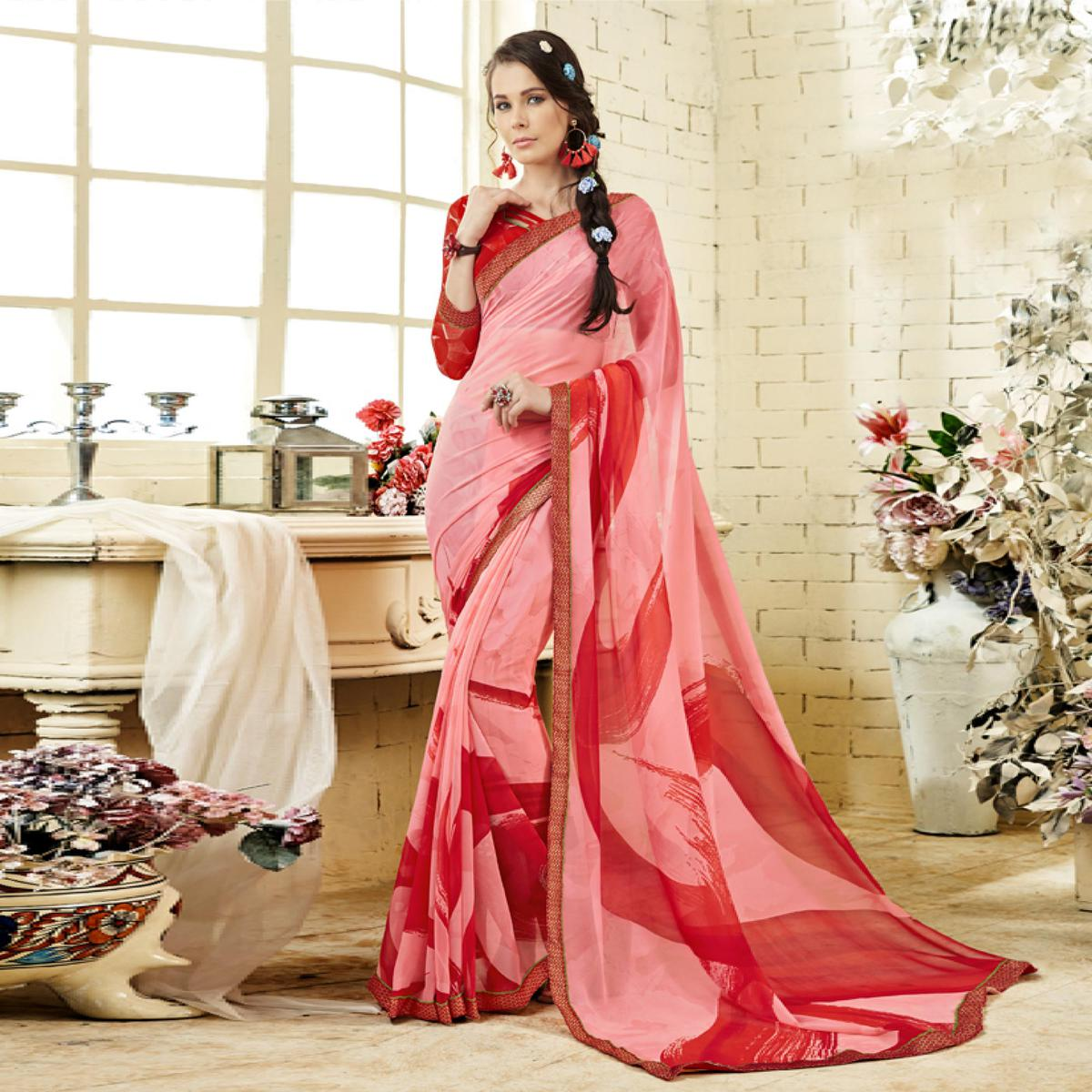 Pink Colored Casual Wear Printed Georgette Saree