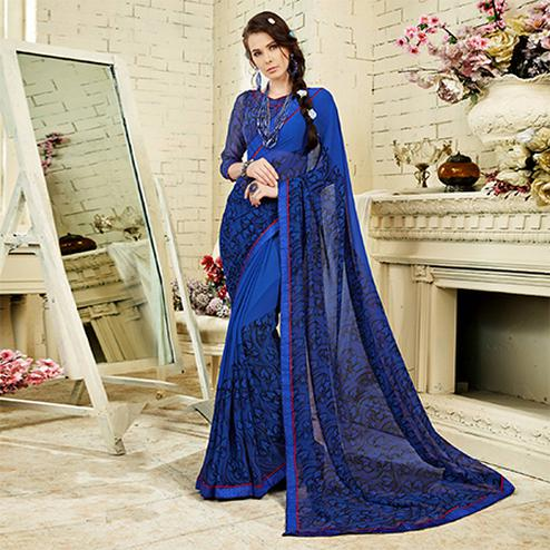 Blue Casual Wear Printed Georgette Saree