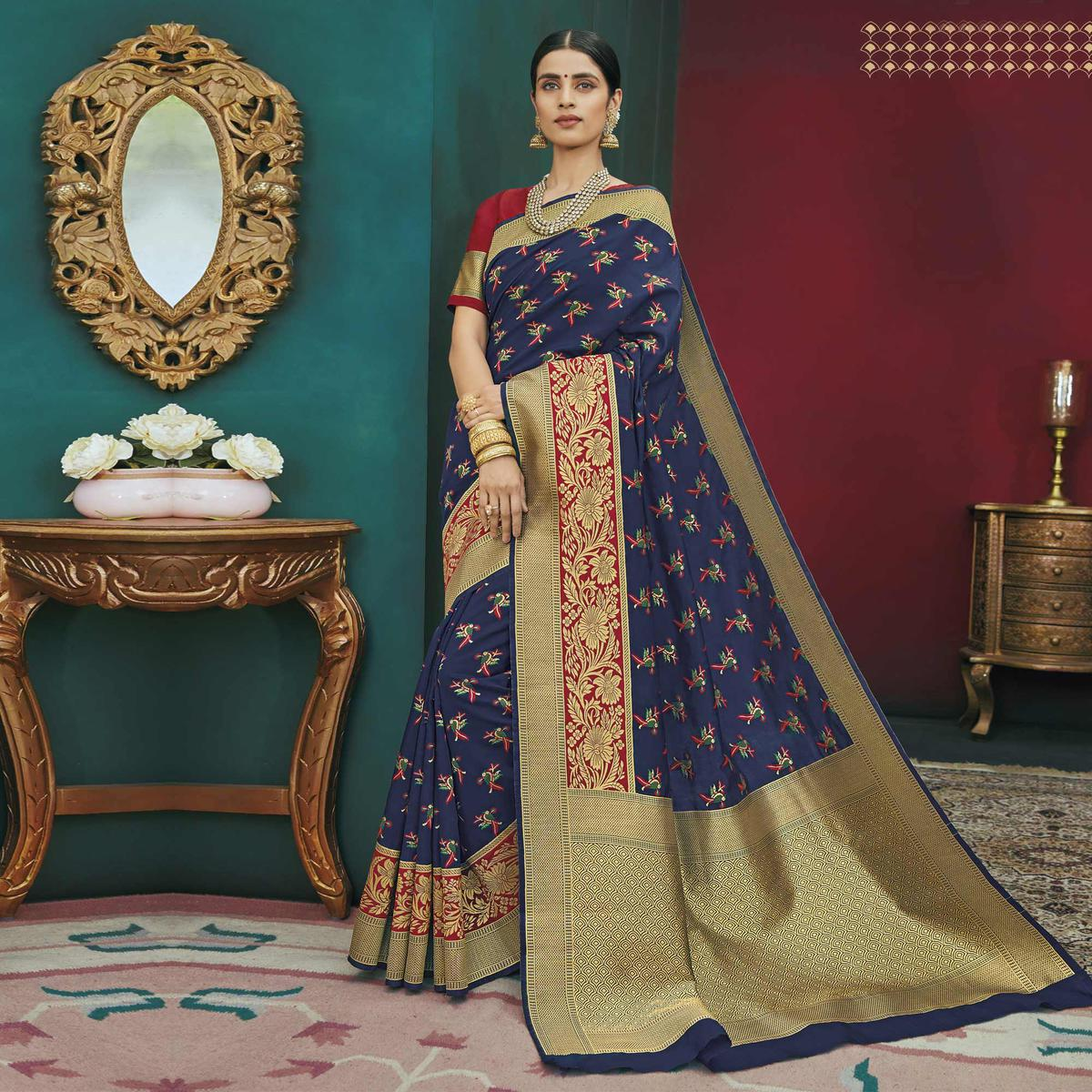 Impressive Navy Blue Colored Festive Wear Woven Banarasi Silk Saree
