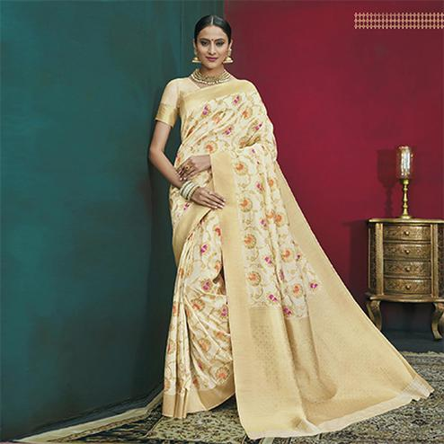Pleasant Off-White Colored Festive Wear Woven Banarasi Silk Saree