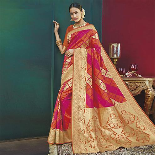 Beautiful Multi Colored Festive Wear Woven Banarasi Silk Saree