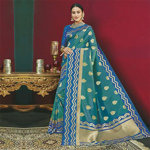 Blooming Teal Green Colored Festive Wear Woven Banarasi Silk Saree