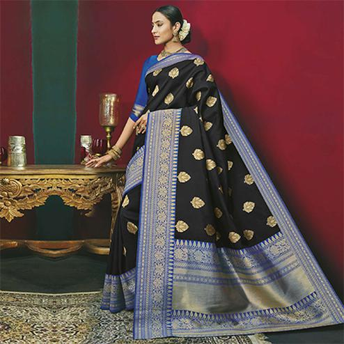 Demanding Black Colored Festive Wear Woven Banarasi Silk Saree