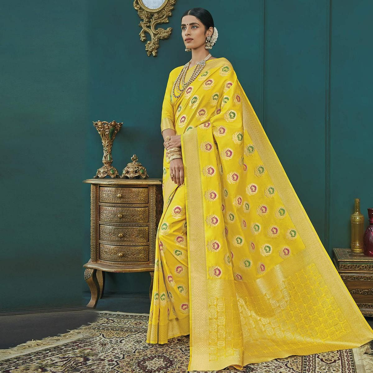 Irresistible Yellow Colored Festive Wear Woven Banarasi Silk Saree