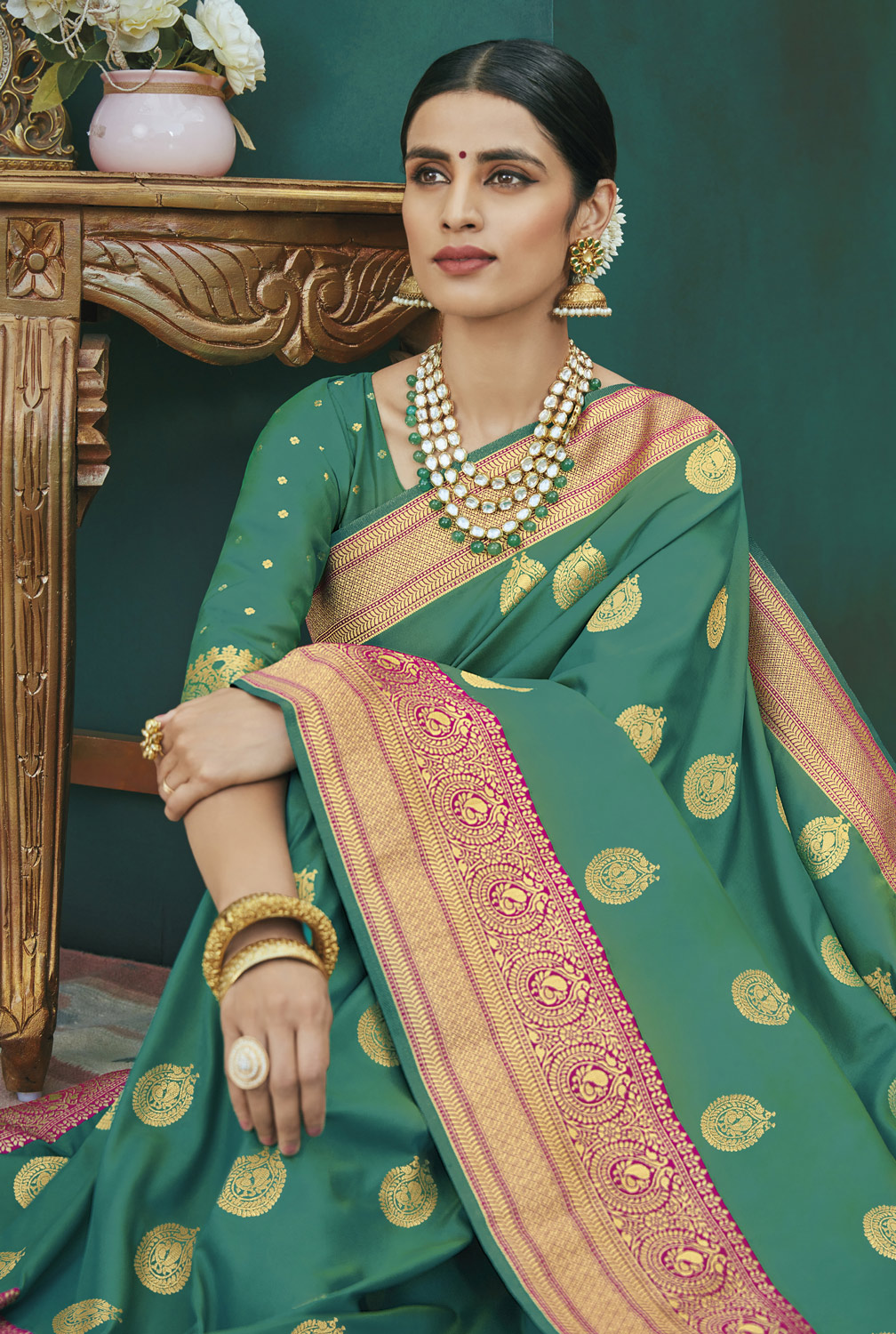 Gorgeous Turquoise Green Colored Festive Wear Woven Banarasi Silk Saree
