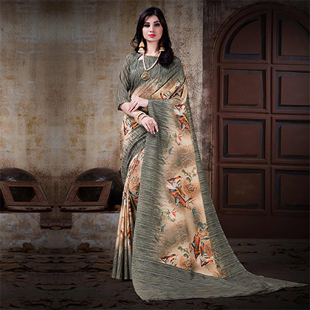 Smart Gray Colored Festive Wear Digital Printed Cotton Silk Saree