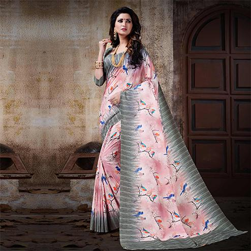 Pretty Pink Colored Festive Wear Digital Printed Cotton Silk Saree