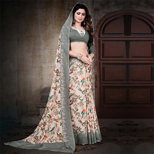 Pleasant Off-White Colored Festive Wear Digital Printed Cotton Silk Saree