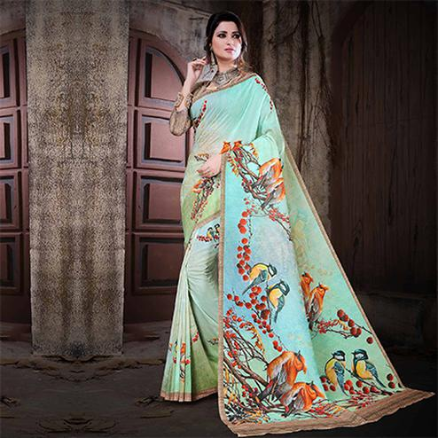 Attractive Multi Colored Festive Wear Digital Printed Cotton Silk Saree
