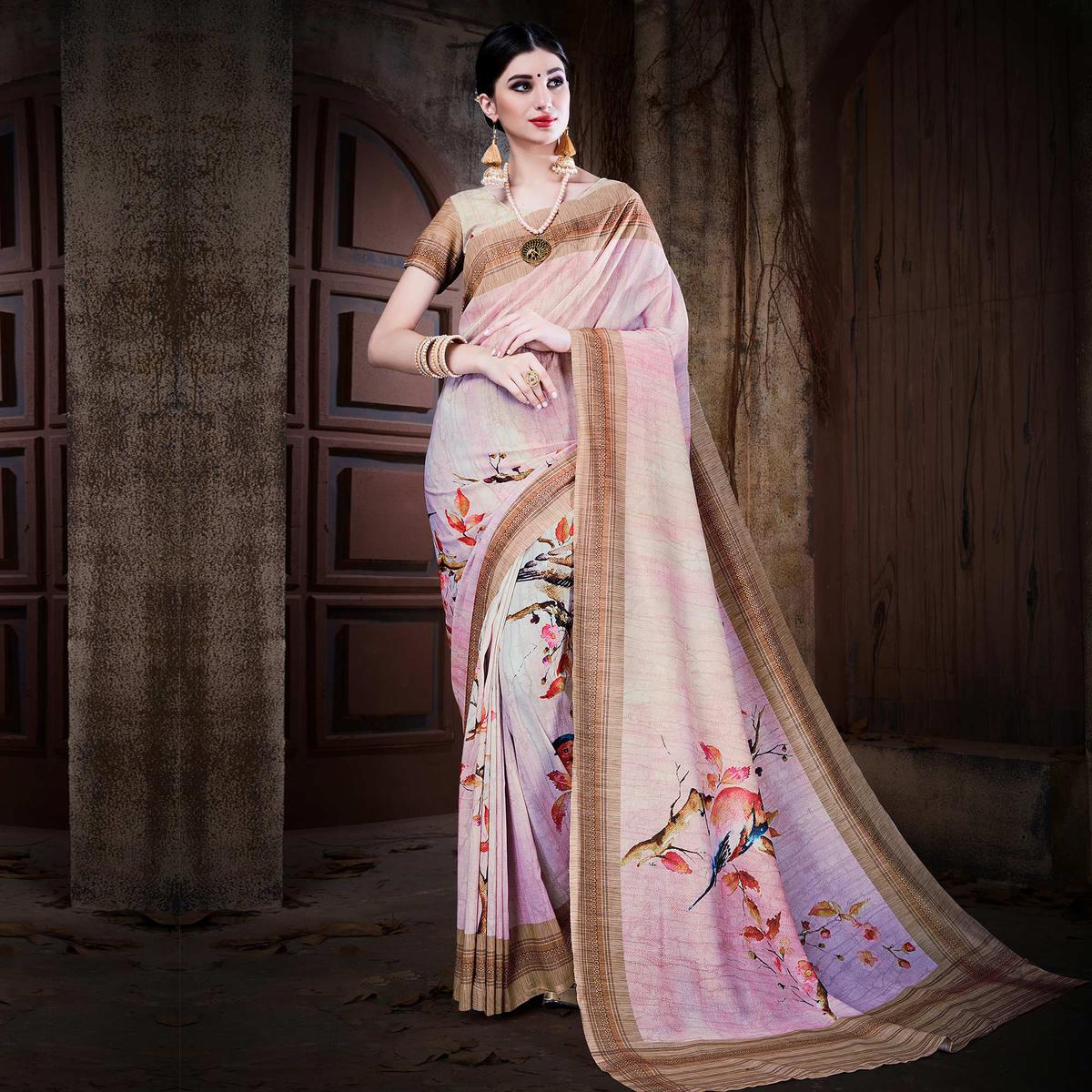 Unique Lavender Colored Festive Wear Digital Printed Cotton Silk Saree
