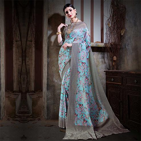 Beautiful Sky Blue Colored Festive Wear Digital Printed Cotton Silk Saree