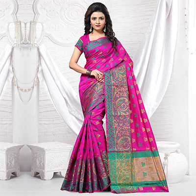Hot Pink Jacquard Silk Designer Saree