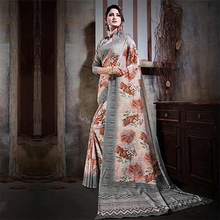 Mesmeric Pastel Peach Colored Festive Wear Digital Printed Cotton Silk Saree
