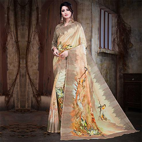 Dazzling Beige Colored Festive Wear Digital Printed Cotton Silk Saree