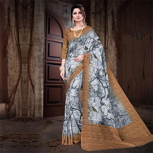Trendy Gray Colored Festive Wear Digital Printed Cotton Silk Saree