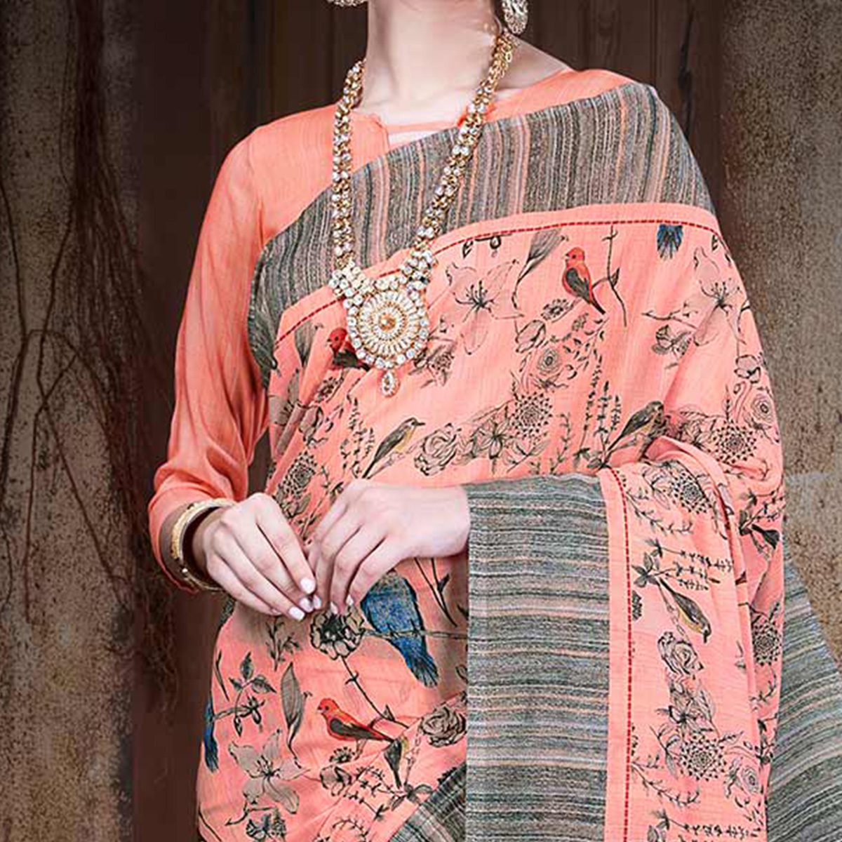 Opulent Peach Colored Festive Wear Digital Printed Cotton Silk Saree