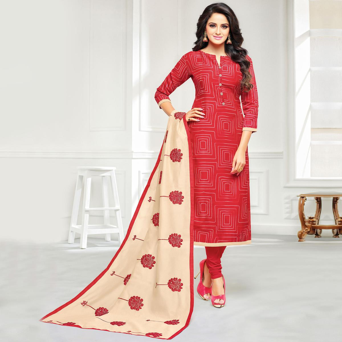 Unique Red Colored Casual Embroidered Chanderi Silk Suit