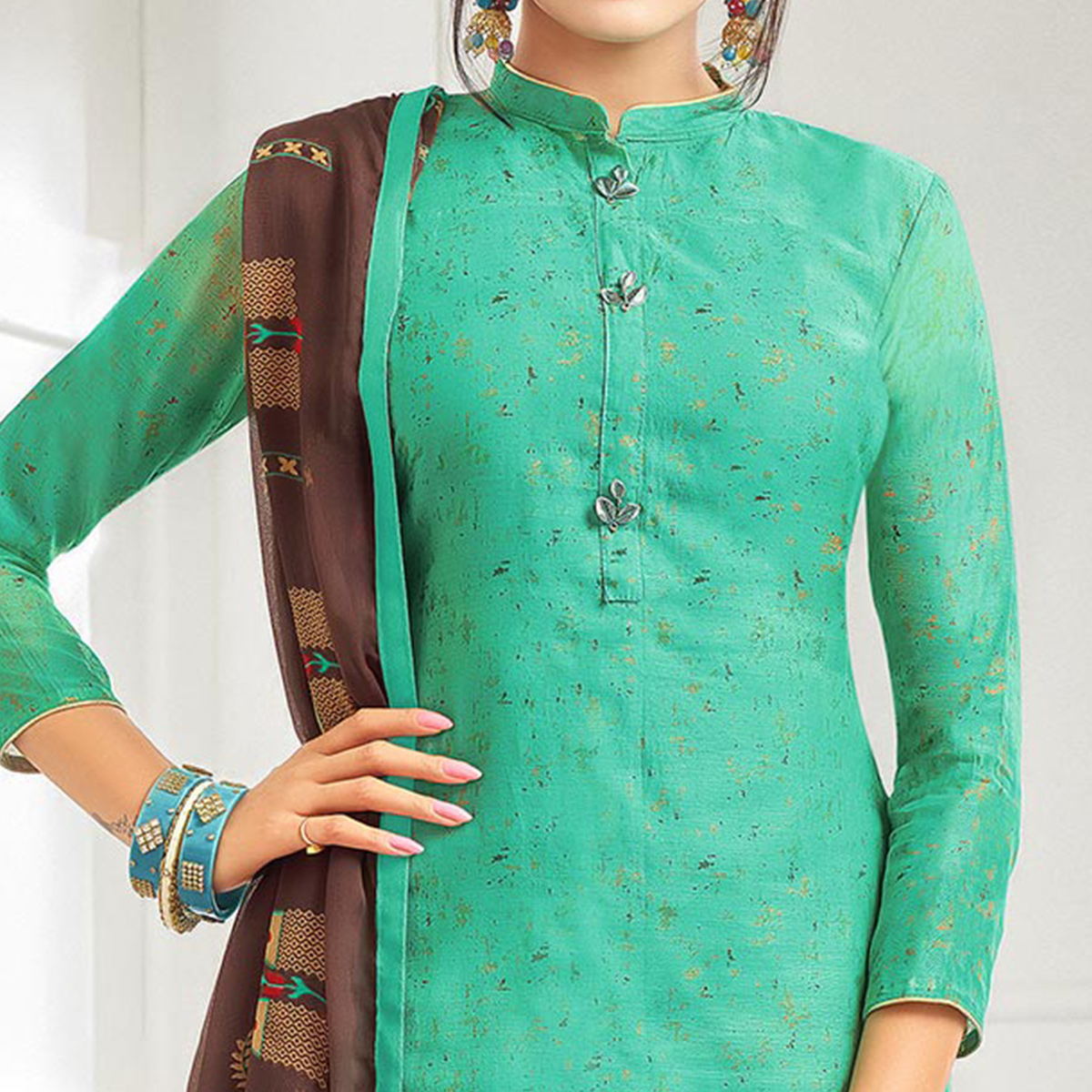 Flattering Sea Green Colored Casual Printed Chanderi Silk Suit