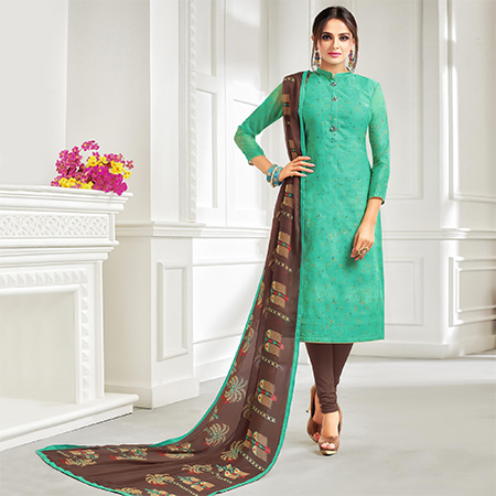 Flattering Sea Green Colored Casual Printed Chanderi Suit