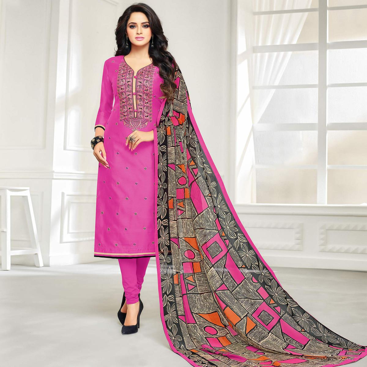 Elegant Pink Colored Casual Embroidered Chanderi Silk Suit