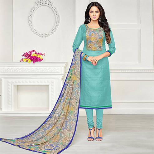 Graceful Sky Blue Colored Casual Printed Chanderi Silk Suit