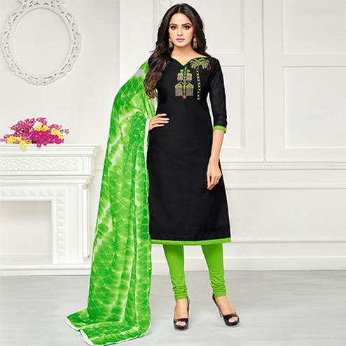 Gorgeous Black Colored Casual Embroidered Chanderi Suit