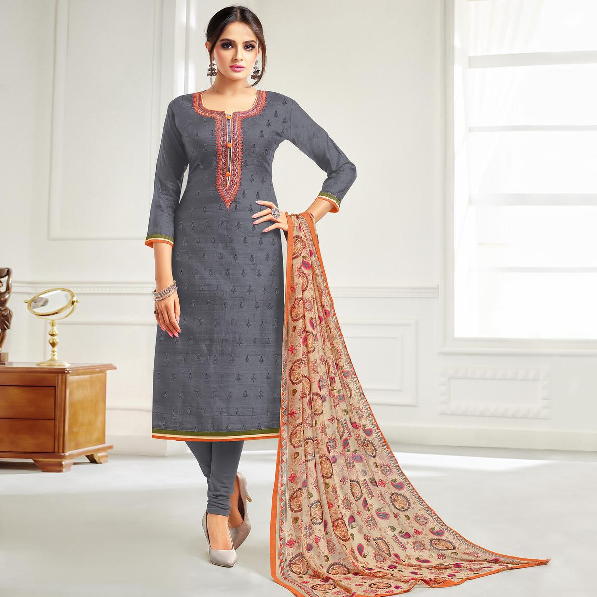 Pretty Grey Colored Casual Embroidered Chanderi Silk Suit