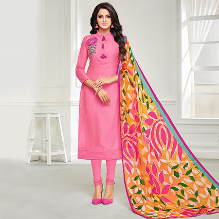 Blooming Pink Colored Casual Embroidered Chanderi Silk Suit