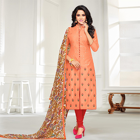 Majesty Peach Colored Casual Embroidered Chanderi Silk Suit