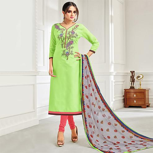 Prominent Light Green Colored Casual Embroidered Chanderi Suit