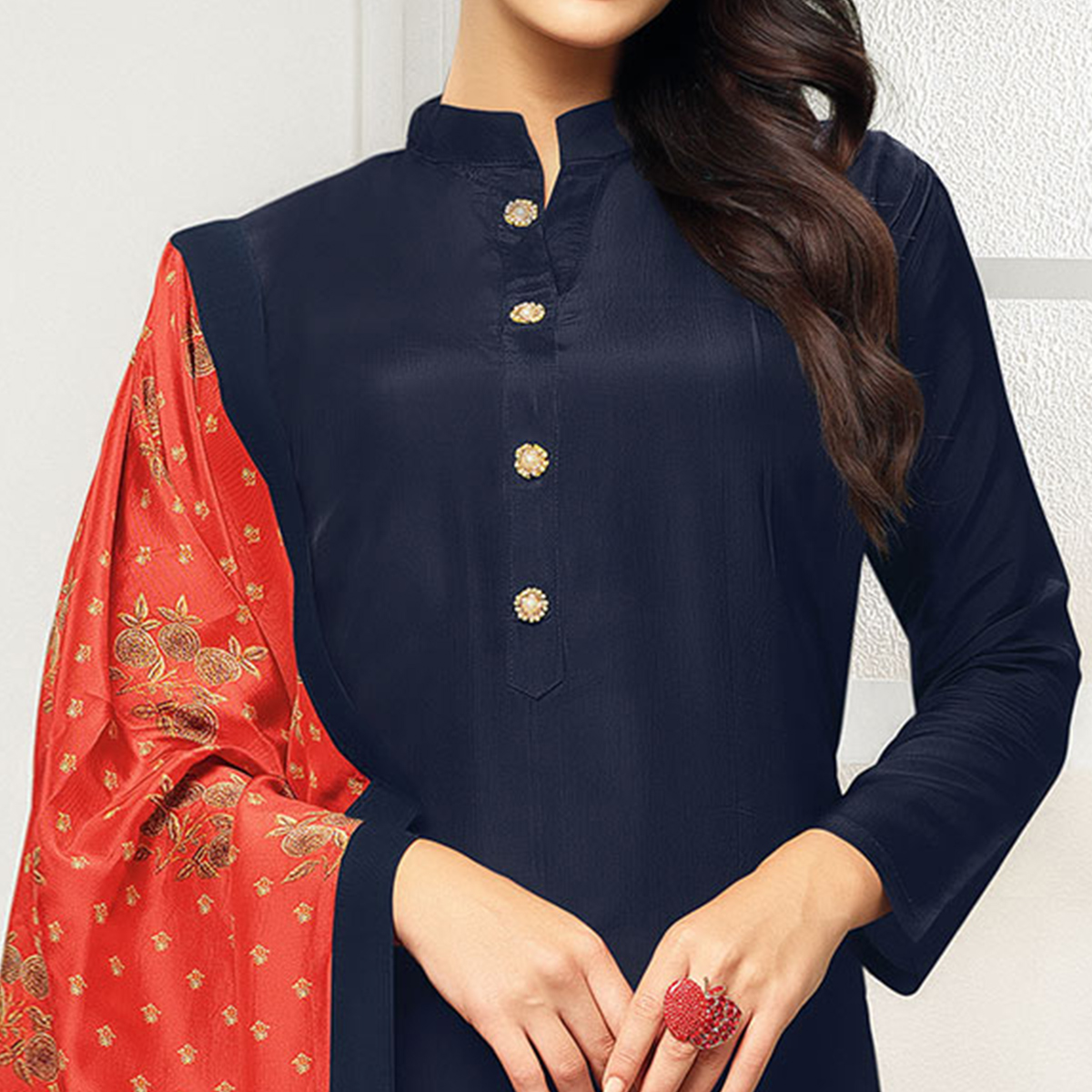 Gleaming Navy Blue Colored Casual Printed Chanderi Suit